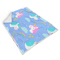 Fluffy and Cozy Hand Drawn Unicorn Design Sherpa Blanket (for Adults)