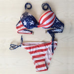 USA Flag Print Women Bikini Suit Strapless Bandeau Lady Swimwear