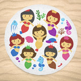 Round Beach Blanket Mermaid Design