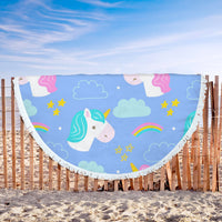 "Round Beach Blanket Cute Unicorn Design High Quality Hand Drawn 61"" x 61"""