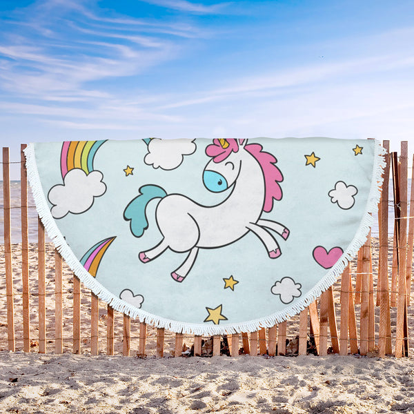 Gorgeous Unicorn Design Round Beach Blanket 61'' x 61''
