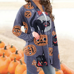 Autumn Pumpkin Halloween Long Sleeve Cardigan Women Sweater