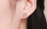 Authentic 925 Sterling Silver Small Cat Stud Earrings