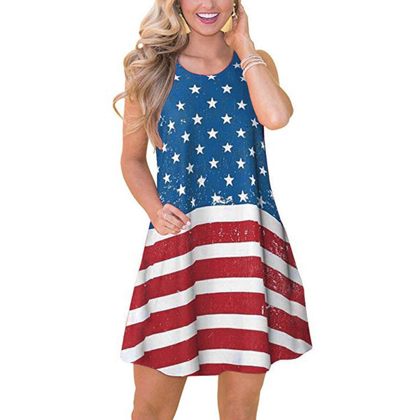 Independence Day July 4th American Flag Summer Beach Casual Comfy Women Dress