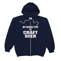 Unisex My Blood type is Craft Beer Zip Hoodie