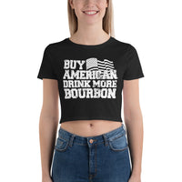 Sexy Women's Crop Top Tee with Buy American Drink More Bourbon Print