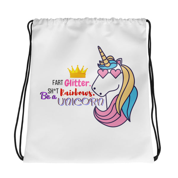 Be a Unicorn Humor Drawstring bag