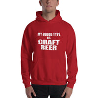 Comfy and High Quality Hooded Sweatshirt with My Blood Type is Craft Beer Print