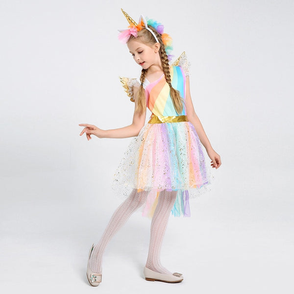 Kids Rainbow Unicorn Halloween Party Dress Costume
