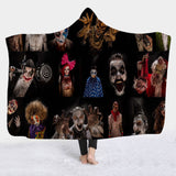 Horror Movie Character Hooded Blanket Sherpa Fleece Wearable Throw Blanket Microfiber Bedding