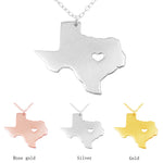 State of Texas With Heart | Silver Pendant Necklace