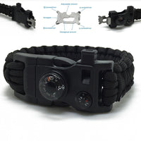 Survival Paracord Wristband - Emergency Kit With Rope Flint Scraper Whistle & Buckle