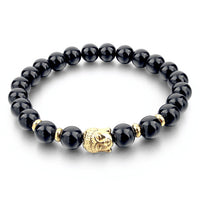 Black Natural Lava Stone Buddhist Bead Bracelet