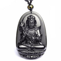 Black Obsidian Carved Buddha Pendant Necklace 7 Styles