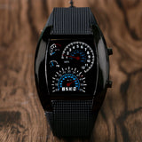 Speedometer Style Black & White LED Watch For Men