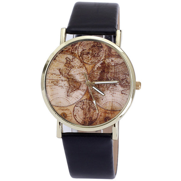 Women's World Map Leather Watch