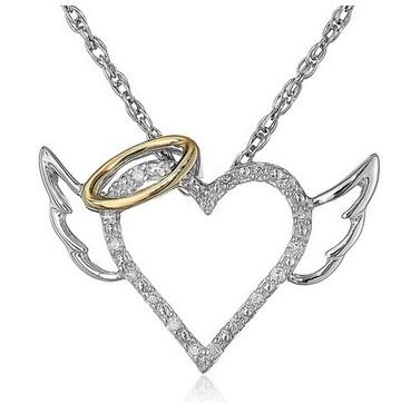 Angel Wings Love Heart Pendant Necklace Jewelry