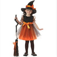 Halloween Cosplay Party Witch Costume for Girls with Hat