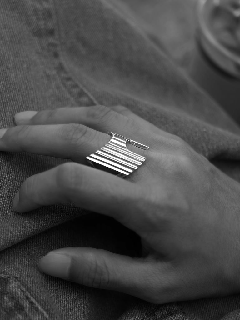 Ribbed Armour Ring by SHINOH