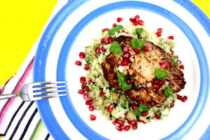 Recipe - Roasted Cauliflower Schwarma Steaks With Zhoug Couscous, Chickpeas, Tahina & Pomegranate