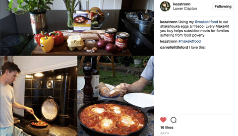 Image from Instagram of Shakshouka Baked Eggs recipe kit cooked up by a Make Kit customer