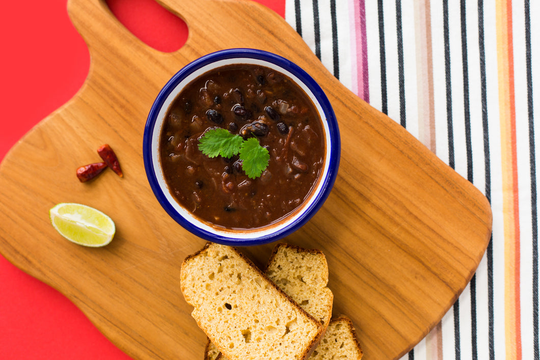 Mexican Black Bean Soup with Homemade Cornbread