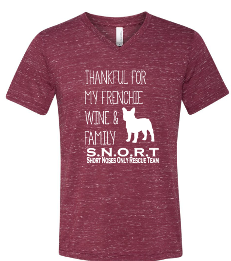 Thankful for Boston, Bulldog Or Pug, Wine and Family- Short Sleeve- SNORT