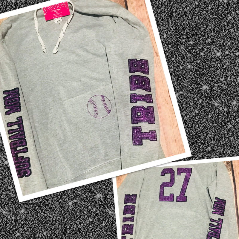 Softball Mom Lace Up Hoodie