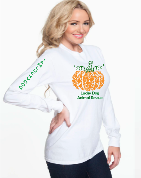 Paw Print Pumpkin Long Sleeve- Lucky Dog