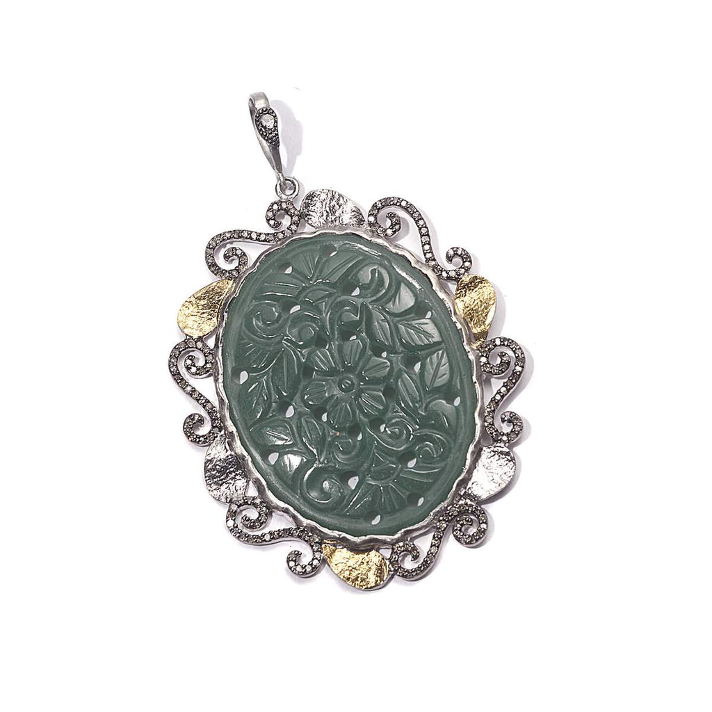 Sterling silver carved green agate and diamond pendant, on sale $600. product:sterling-silver-carved-green-agate-and-diamond-pendant