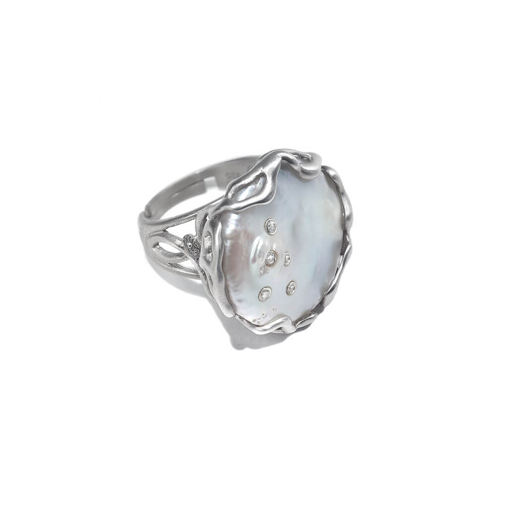 Affinity White Pearl and Diamond Ring, $480. product:affinity-white-pearl-and-diamond-ring