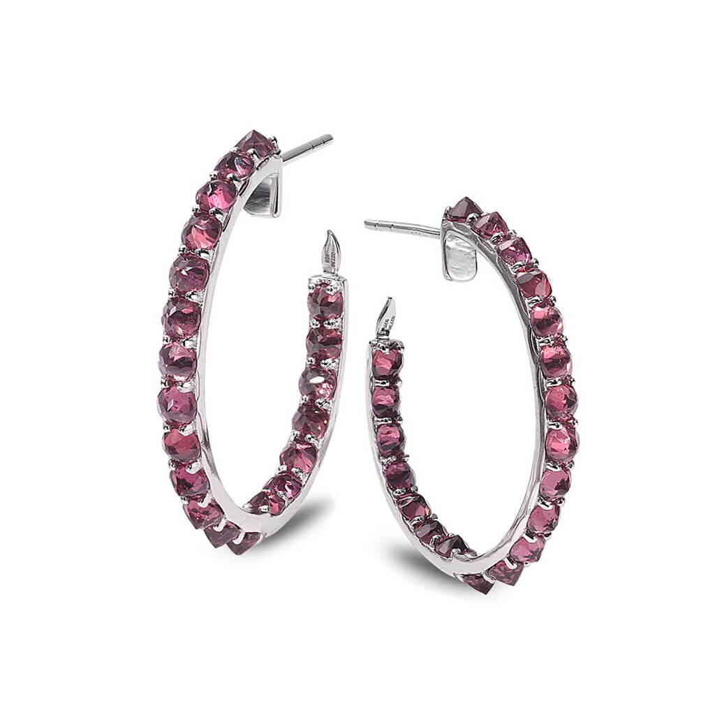 Sterling Silver Rhodolite Hoop Earrings, $790. product:sterling-silver-rhodolite-hoop-earrings