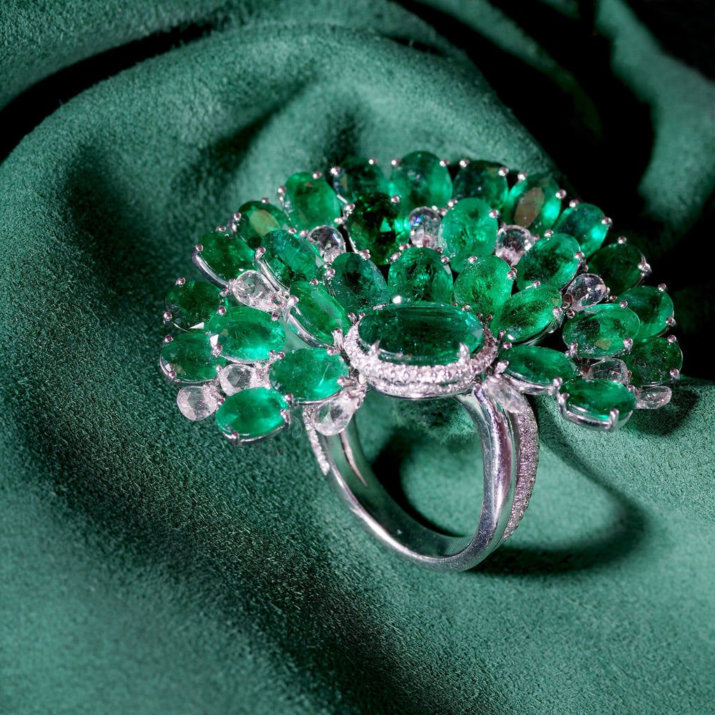 18K White Gold Emerald and Diamond Fan Ring, $60,000. product:18k-white-gold-emerald-and-diamond-fan-ring