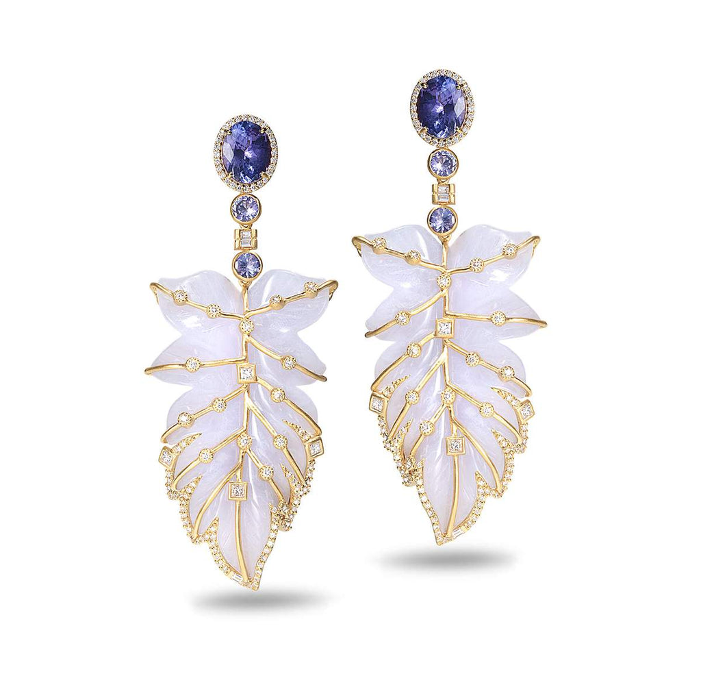 Hand-carved Blue Chalcedony Feather Earrings with Diamond, $19,500. product:20k-blue-chalcedony-feather-earrings