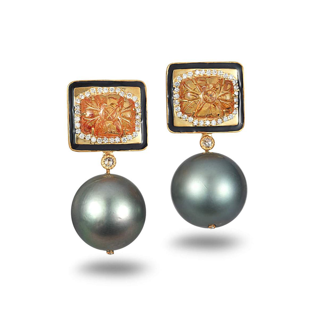 20K Affinity Carved Mandarin Garnet and Pearl Earrings, $6,000. product:affinity-carved-mandarin-garnet-and-pearl-earrings