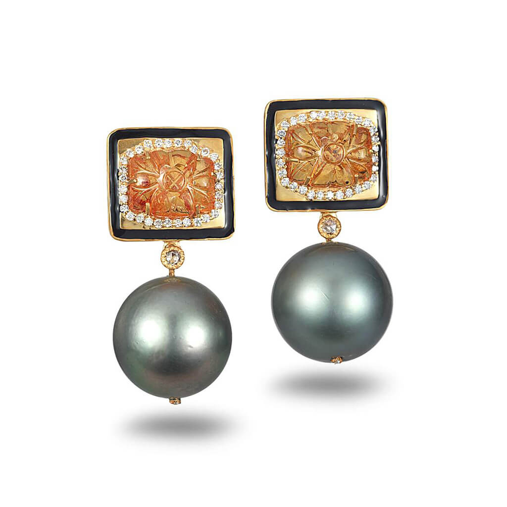 Affinity Carved Mandarin Garnet and Pearl Earrings, $6,000. product:affinity-carved-mandarin-garnet-and-pearl-earrings