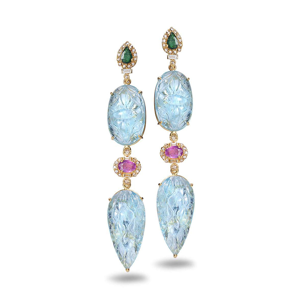 Hand-carved Aquamarine Earrings, $12,000. product:20k-carved-aquamarine-earrings