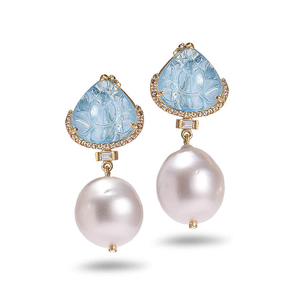 20K Aquamarine and South Sea Pearl Earrings, $6,000. product:20k-aquamarine-and-south-sea-pearl-earrings