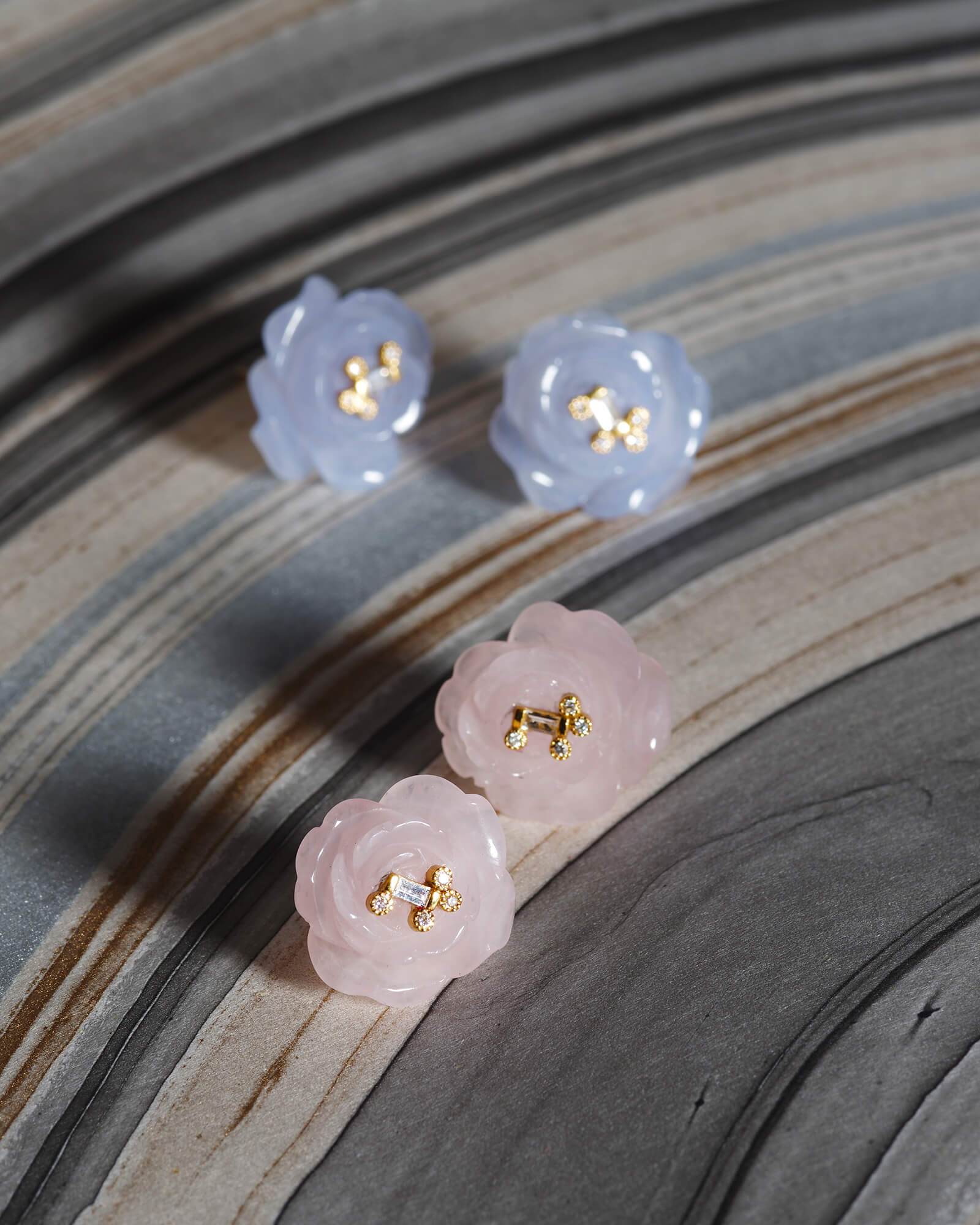 Hand-carved Rose Quartz and Diamond Earrings, $980. product:/affinity-rose-quartz-and-diamond-earrings