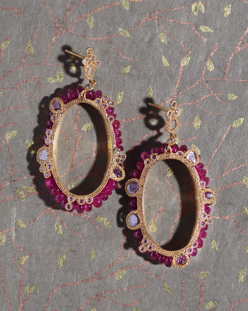 20K Affinity Ruby Bead Earrings, $12,000. product:affinity-ruby-bead-earrings