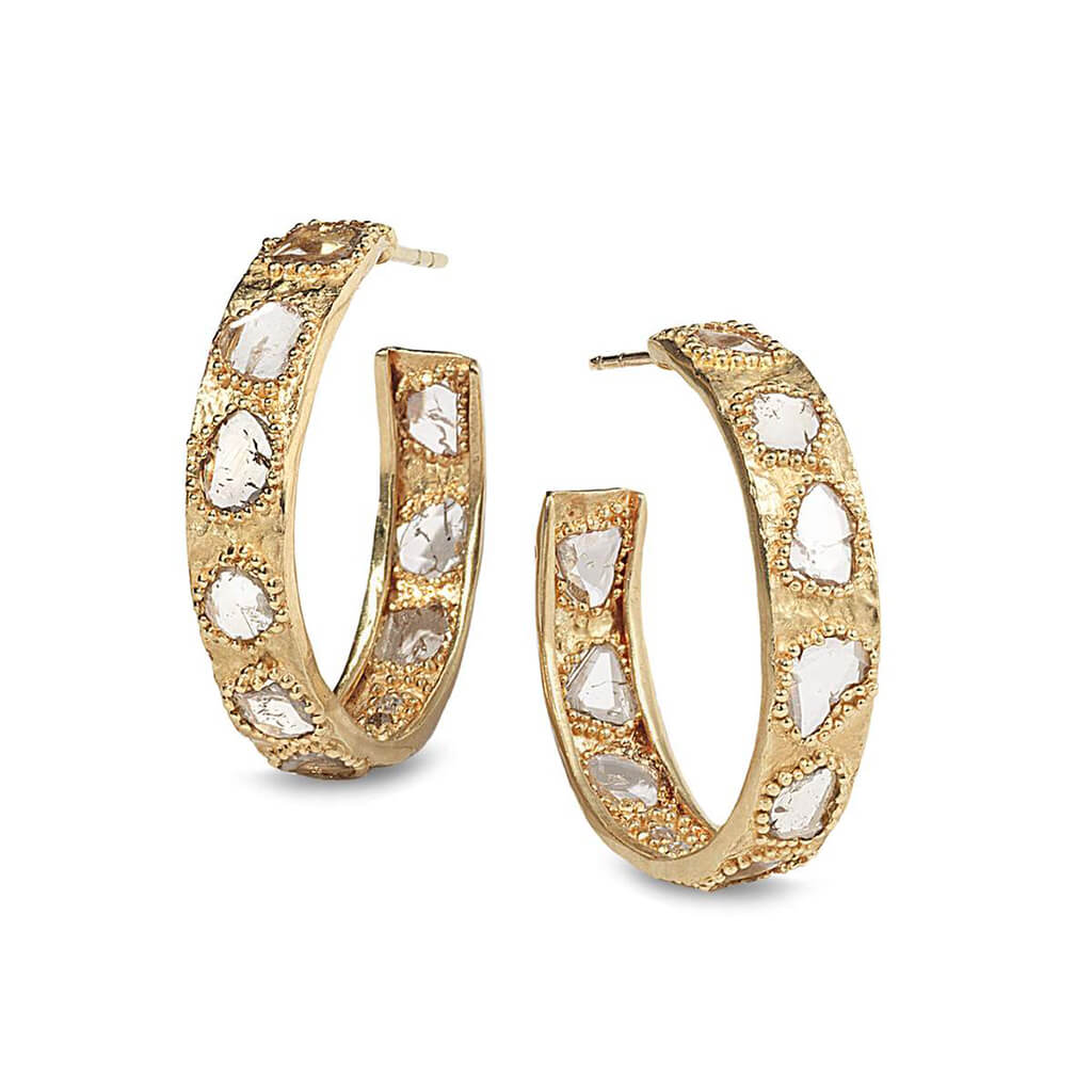 20K Luminosity Diamond Slice Hoop Earrings, $3,400. product:20k-eternity-diamond-slice-hoop-earrings