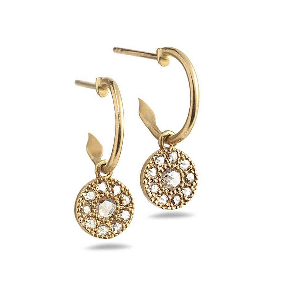 20K Opera Diamond Drop Hoop Earrings, $1,400. product:20k-opera-diamond-drop-hoop-earrings