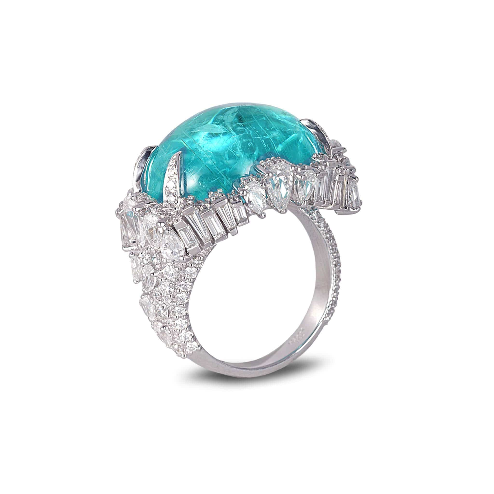 18K White Gold Paraiba Cluster Ring