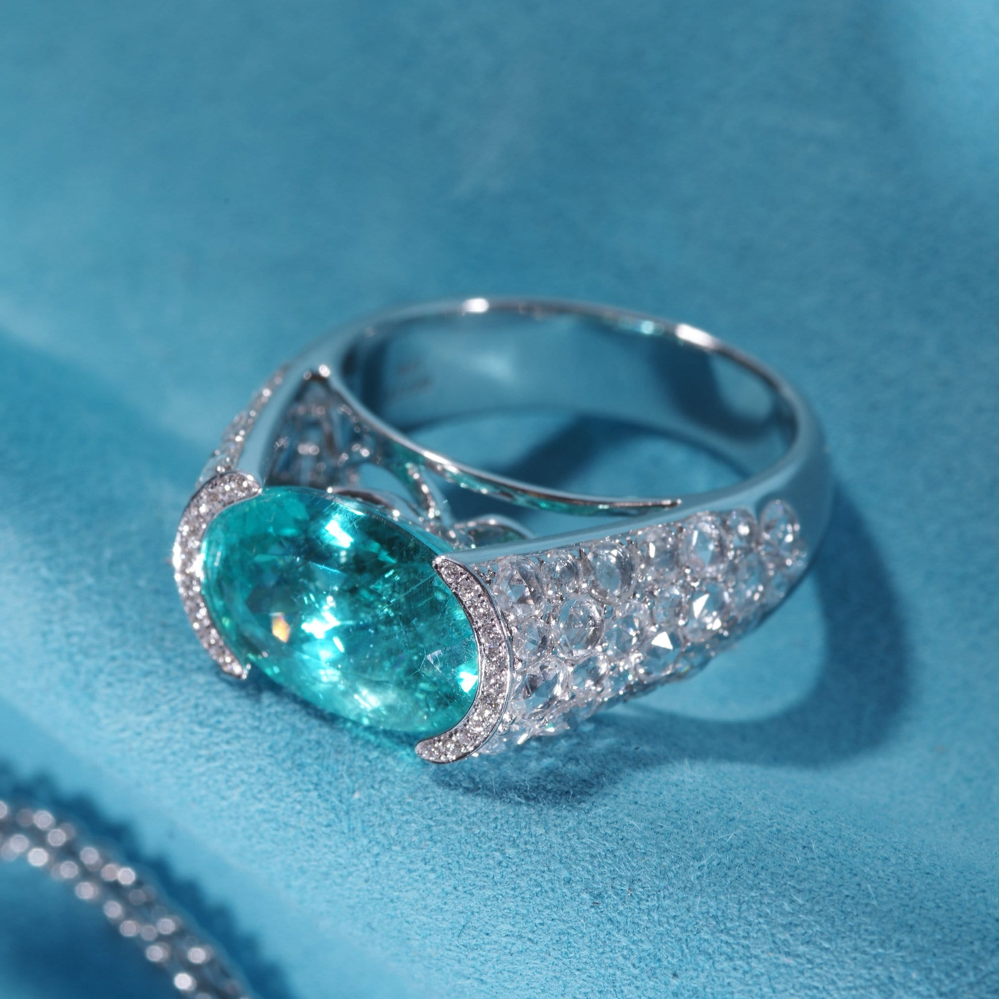 18K White Gold Paraiba and Diamond Cocktail Ring