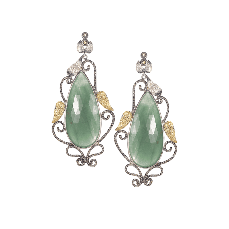earring green earrings fancy online uncut stone