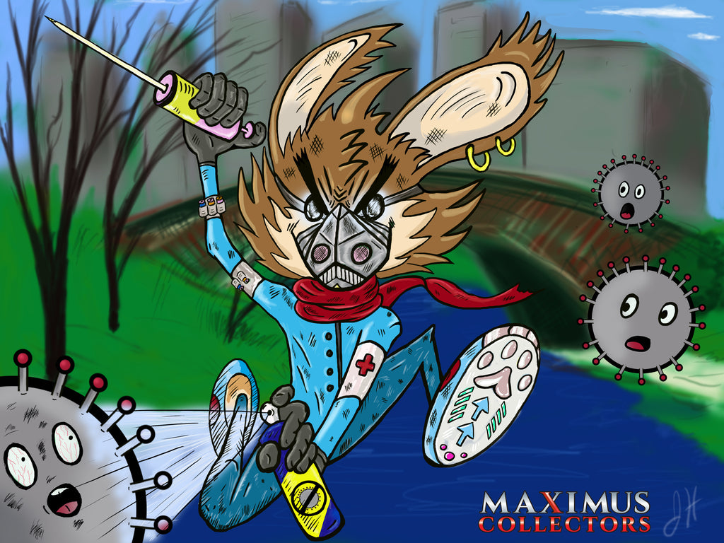 Easter Bunny Medical Essential Worker Coronavirus Covid-19 New York City NYC Maximus Collectors Art Work