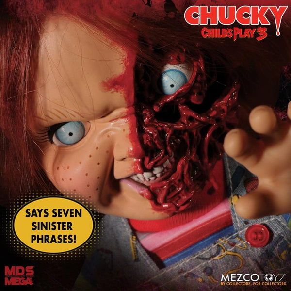 Child's Play 3 Mezco Designer Series Talking Pizza Face Chucky maximus collectors toys and gifts