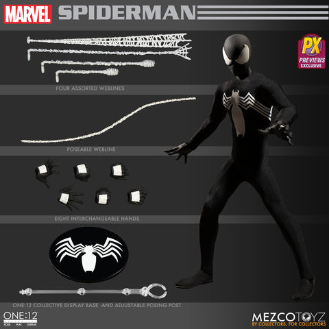 Mezco Toys One:12 Marvel Black Symbiote Spider-Man Action Figure