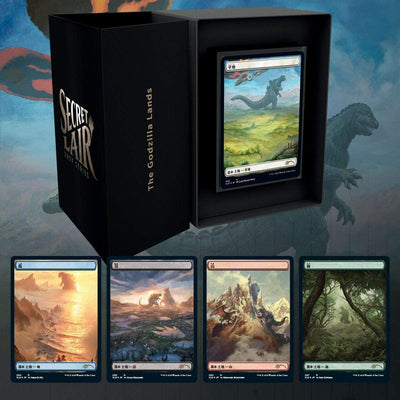 Magic the Gathering Secret Lair: The Godzilla Lands (5 Foil Land Cards with Godzilla art)