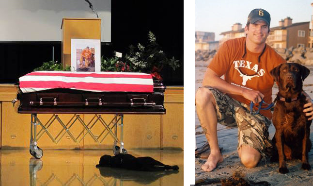 Dog mourns the loss of his person, Navy Seal Jon Tumlinson.